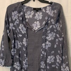 Fred David Floral Print  Blouse Size M 3/4 Sleeves